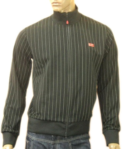 Armani Mens Pinstripe Black Zippered Cardigan Shirt