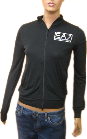Armani Womens EA7 Black Zippered Windbreaker Jacket