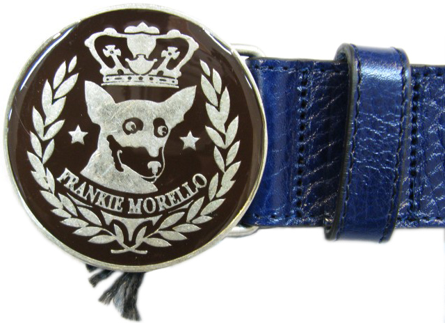 Frankie Morello Mens Blue Round Buckle Leather Belt
