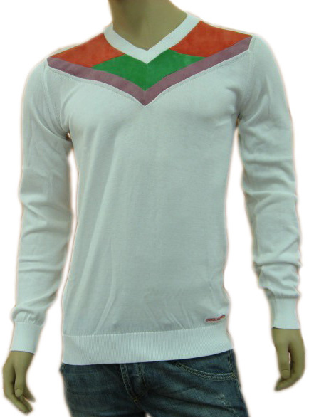 Dsquared Mens D2 White Long Sleeve V-Neck Sweater