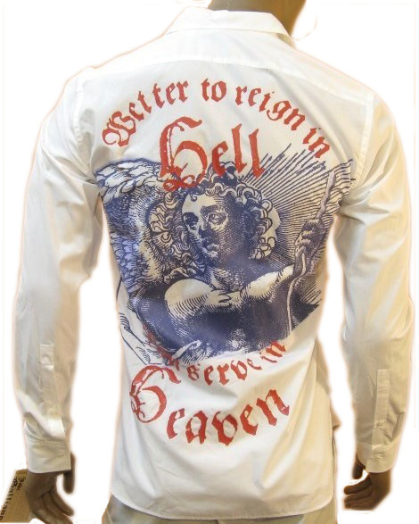 John Galliano Mens Reign In Hell White Long Sleeve Shirt
