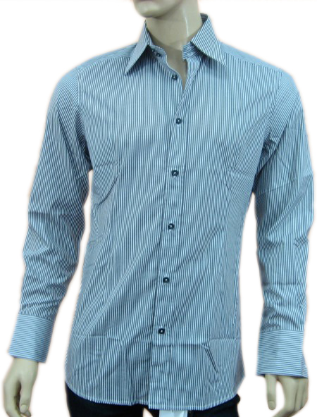Daniele Alessandrini Mens Grey Striped Button Down Slim Fit Dress Shirt