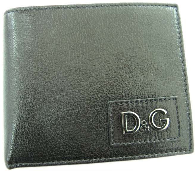 Dolce & Gabbana Mens D&G Black Grained Leather Bifold Wallet