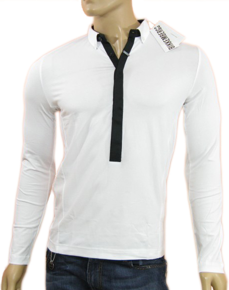 Bikkembergs Mens White Buttoned Neck Long Sleeved Polo Shirt