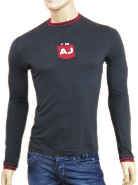 Armani Mens Blue Fitted Long Sleeve Shirt