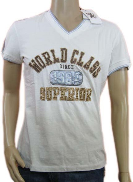 Dolce Gabbana D G World Class Superior Mens V Neck T Shirt