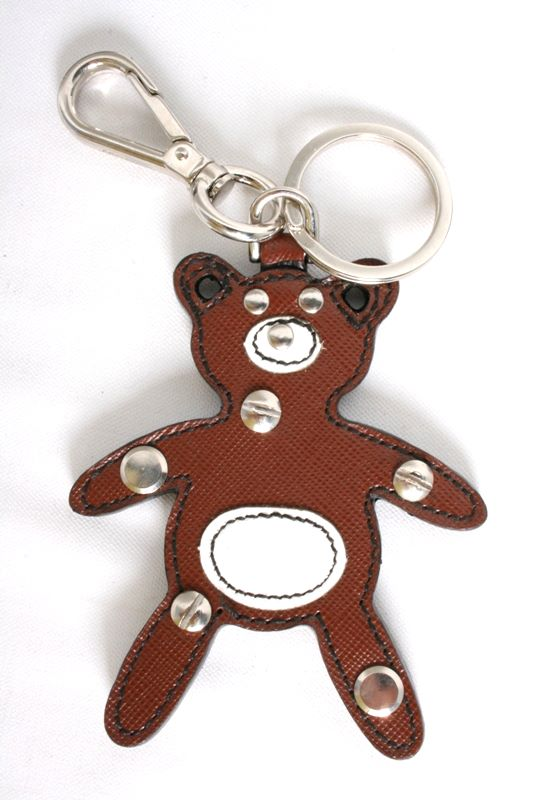 Prada 1AR245 Teddy Bear Brown Saffiano Leather Keychain