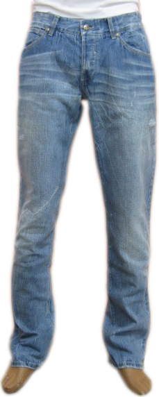 Richmond Mens Denim Straight Leg Distressed  Jeans