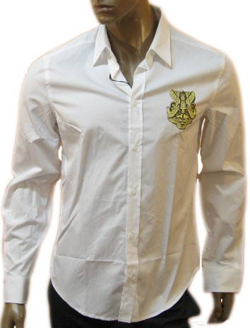 Just Cavalli Mens White Crest Dress Shirt :  just cavalli mens white crest dress shirt