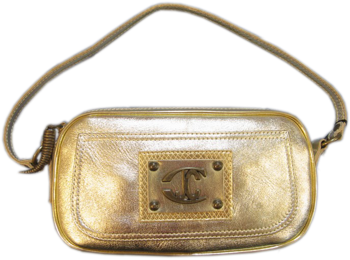 Roberto Cavalli Just Cavalli Womens Gold Leather Baguette Handbag Purse