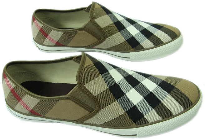 Burberry Mens Brown Chequered Slip On Slippers