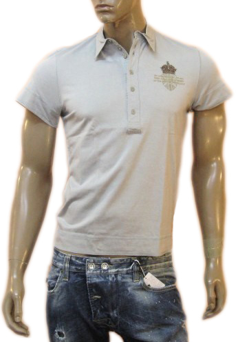 Richmond Mens Grey Beaded Deco Slim Fit Polo Shirt