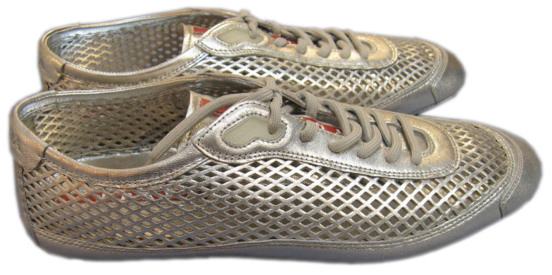 Prada Womens Silver Leather Mesh Sneakers Shoes :  prada womens silver leather mesh sneakers shoes