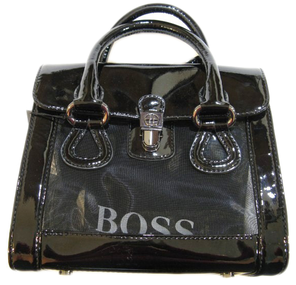 Hugo Boss HB Womens 'Mirna' Black Patent Leather Square Tote Handbag Purse :  hugo boss hb womens mirna black patent leather square tote handbag purse