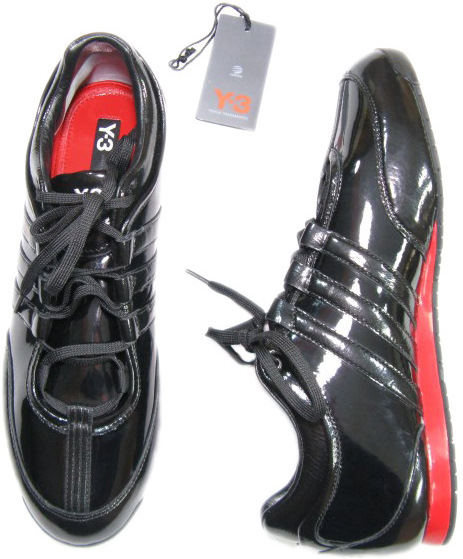 Y3 Yohji Yamamoto Mens Patent Black Leather Low Rise Sneakers