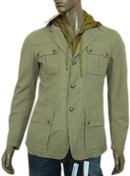 Belstaff Mens Military Inspired Layered Tweed Hooded Jacket