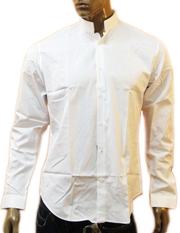 Christian Dior Mens White Raised Collar Dress Shirt