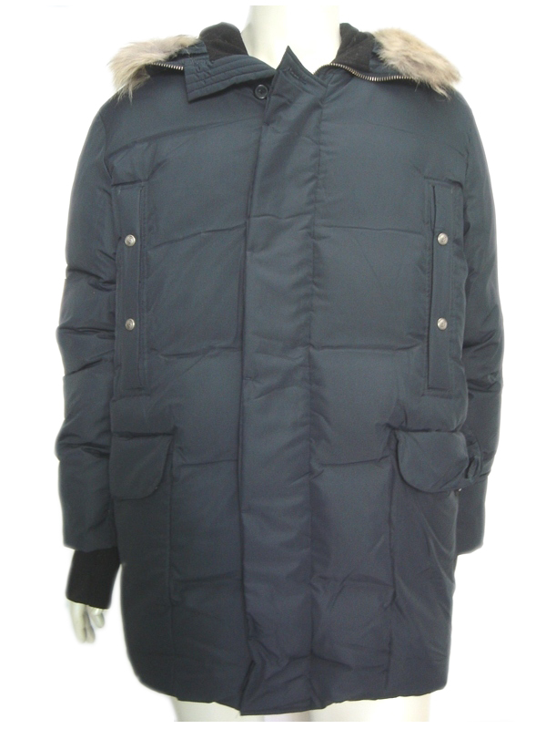GFF Gianfranco Ferre Mens Blue Winter Jacket Fur Hood