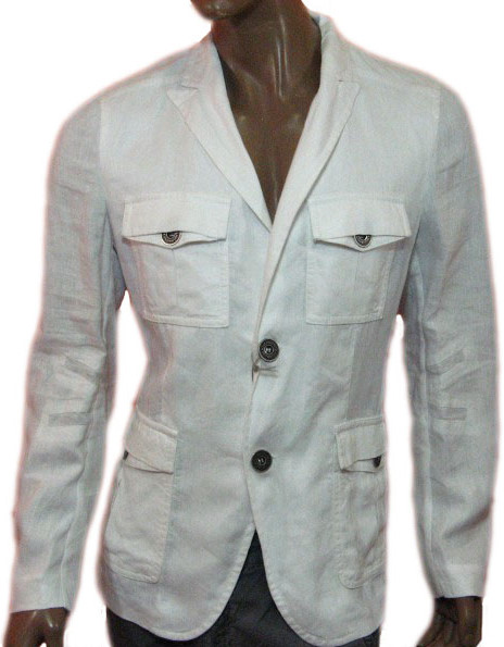 Richmond 'X' Mens White Belted Linen Blazer Jacket