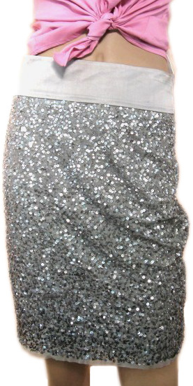 Pinko Womens Metallic Sequenced Pencil Skirt