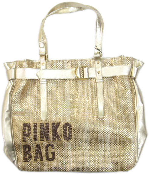 Pinko Womens Gold Weaved Leather Handbag Tote