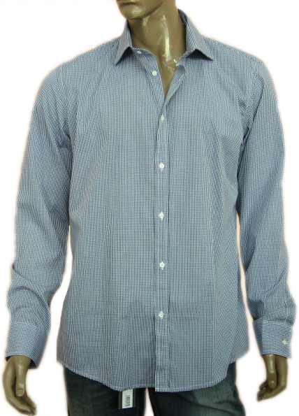 Daniele Alessandrini Mens Blue Button Down Checkered Shirt