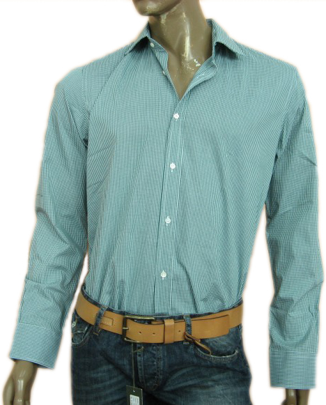 Daniele Alessandrini Mens Green Button Down Checkered Shirt