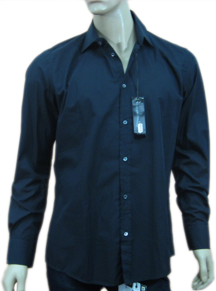 Daniele Alessandrini Mens Black Pinstripe Long Sleeve Dress Shirt