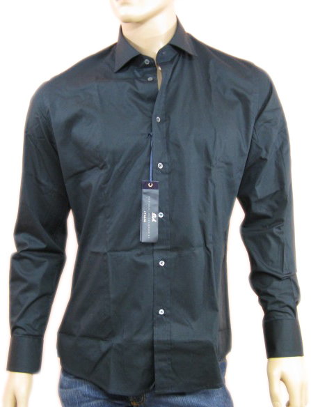 Daniele Alessandrini Mens Black Button Down Long Sleeved Dress Shirt