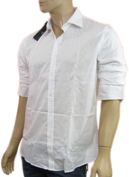 Daniele Alessandrini Mens White Buttoned Long Sleeved Dress Shirt