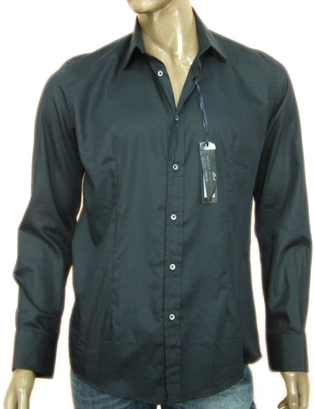 Daniele Alessandrini Mens Black Button Down Long Sleeved Cotton Shirt