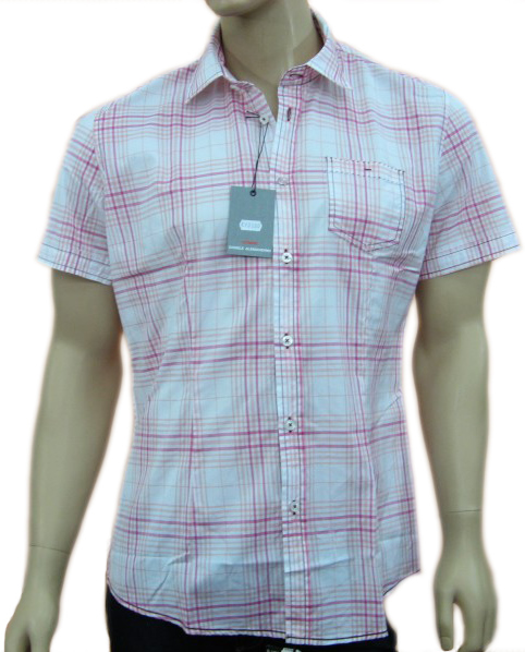 Daniele Alessandrini Mens White Checkered Short Sleeve Polo