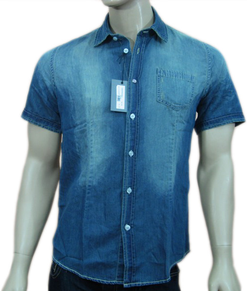 Daniele Alessandrini Mens Denim Button Down Shirt