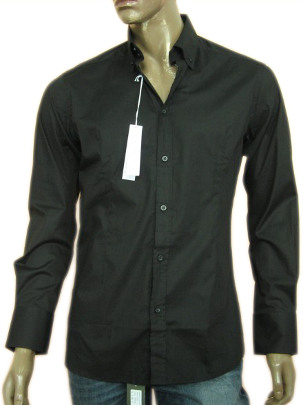 Daniele Alessandrini Mens Black Long Sleeved Collar Shirt