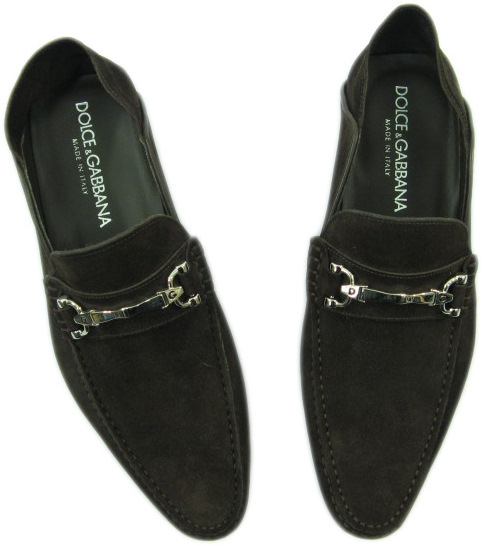 Dolce & Gabbana Mens D&G Brown Suede Moccasin Shoes
