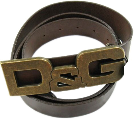 Dolce & Gabbana D&G Mens Brown Leather Logo Belt
