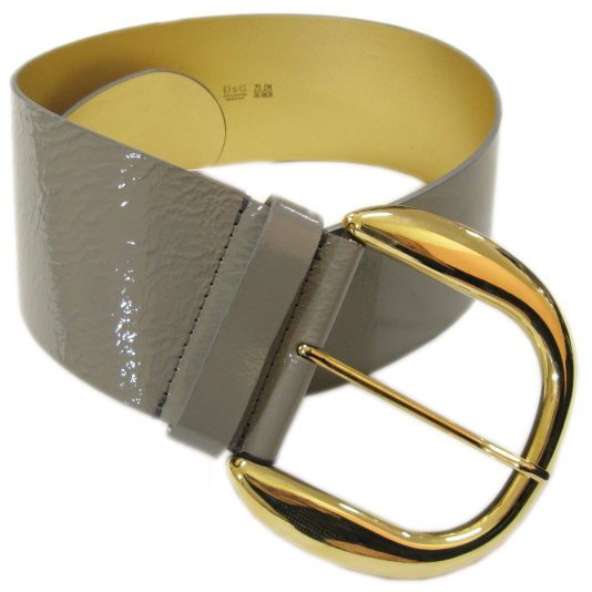 Dolce & Gabbana D&G Womens Grey Oversized Patent Leather Belt