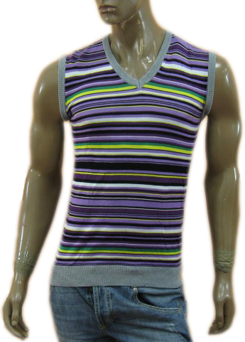 Daniele Alessandrini Mens Light Violet Slim Fitted Striped Tank Top Shirt