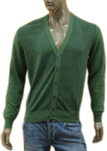 Daniele Alessandrini Mens Green Knitted Cardigan Sweater