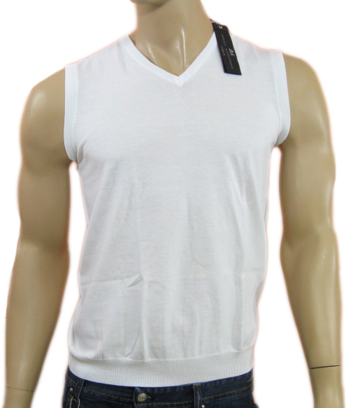 Daniele Alessandrini Mens White Slim Fit Tank Top