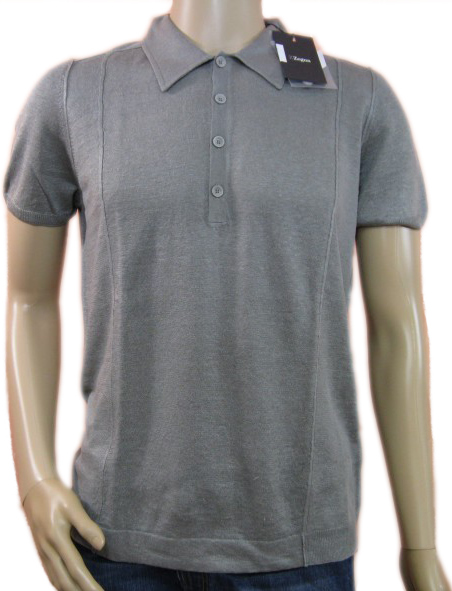 Ermenegildo Zegna Grey White Buttoned Neck Polo Shirt