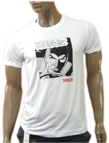 Dsquared Mens Diabolik Comic Book White Cotton T-Shirt Tee