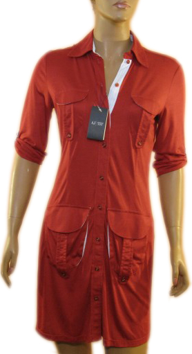 Armani Jeans AJ Womens Red Buttoned Cotton Dress