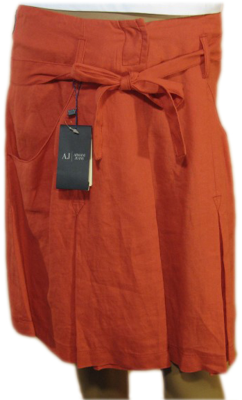 Armani Jeans Womens Red Linen Drawstring Broom Skirt
