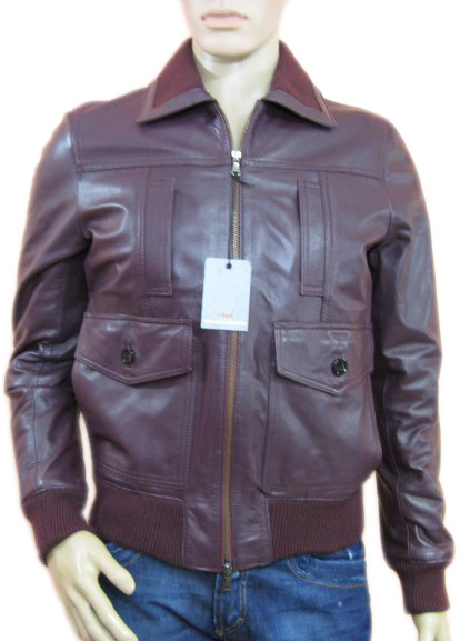 Daniele Alessandrini Mens Bordeaux Leather Jacket