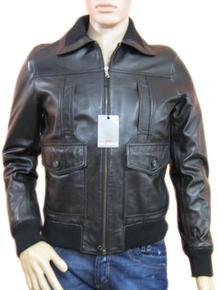 Daniele Alessandrini Mens Black Leather Jacket