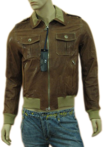 Daniele Alessandrini Mens Brown Leather Zippered Jacket