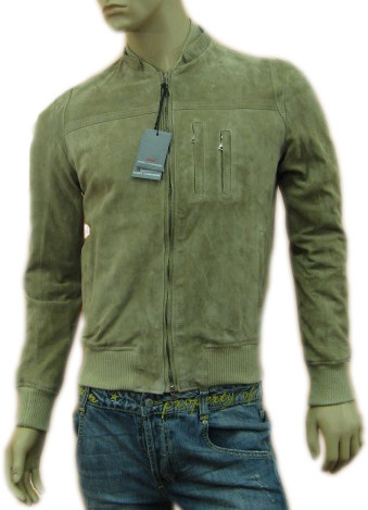 Daniele Alessandrini Mens Beige Leather Slim Jacket