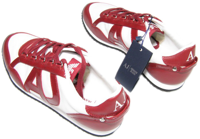 Armani Mens AJ Jeans White/Red Low Rise Leather Sneaker Shoes