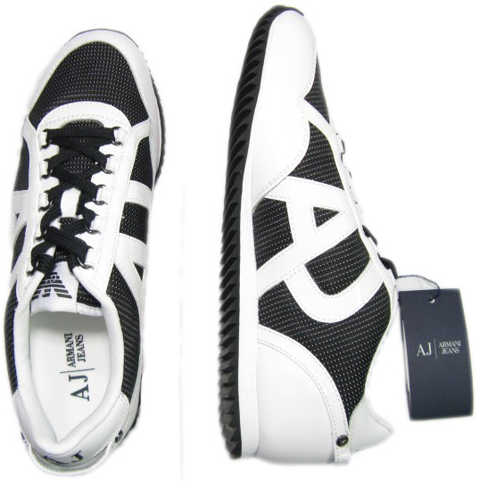 Armani Mens AJ Jeans White/Black Low Rise Leather Sneaker Shoes